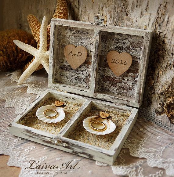 Wedding - Beach Wedding Ring Bearer Pillow Box Rustic Ring Bearer Ring Box Personalized Box Beach Ring Box White Ring Box Beach Ring Bearer