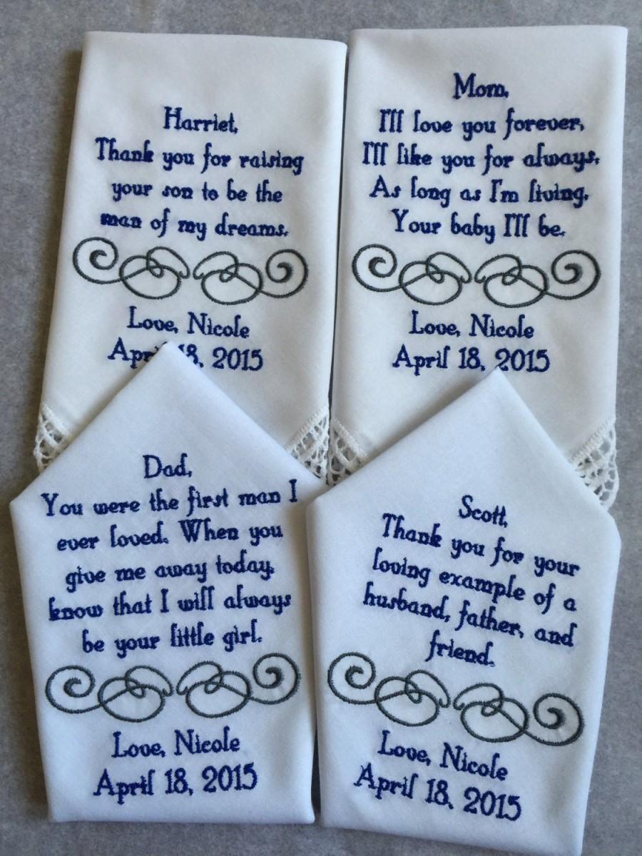 Wedding - Set of four 4 Mother of the groom/bride and father of the groom/bride  custom made personalized handkerchief hankie gift from bride