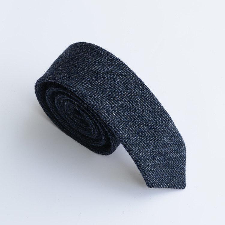 Wedding - Navy Wool Tie.Navy Herringbone Tie.Wedding Necktie.Groomsmen Necktie.Wool Skinny Tie.Mens Tie.