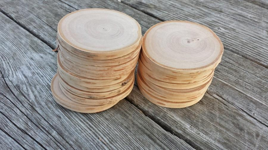 15 White Birch Wood Slices, DIY Tags or Ornaments, 2.75 to 3 Inch Wooded  Disc Pieces, Sanded Smooth Wood Rounds, Wood Cookies