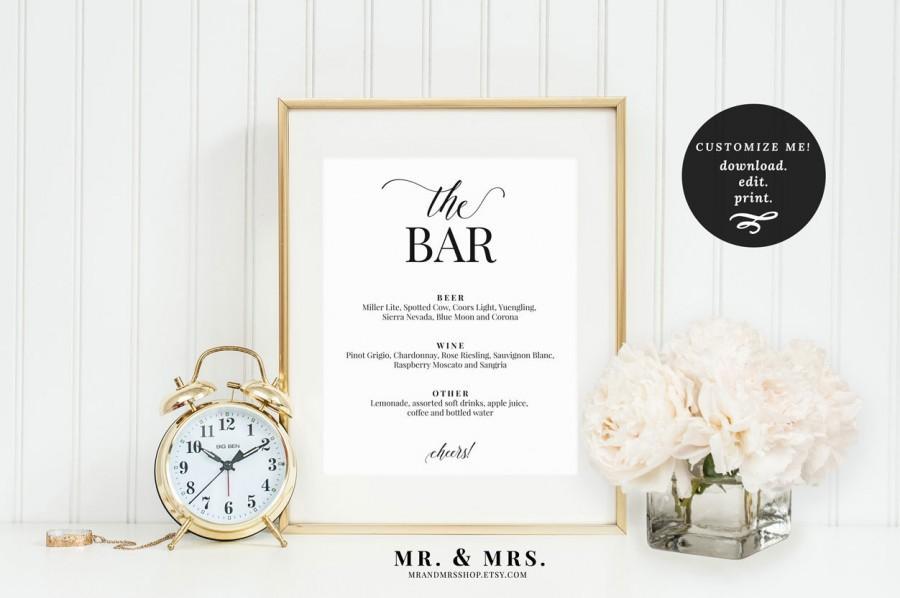 Свадьба - The Bar Menu Sign