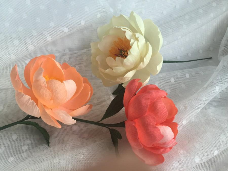 Свадьба - Crepe Paper Flower - Coral Charm Peony - Handmade