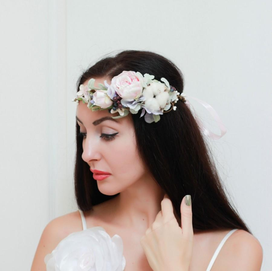 Mariage - Ready to ship Pale pink rose cotton ball floral crown Flower headpiece Flower hair wreath Flower halo Bridal floral crown Wedding flowers
