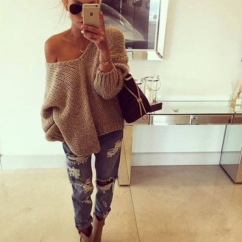 Mariage - Fashion V-neck Long Sleeves Khaki Knitted Sweater from Dressywomen