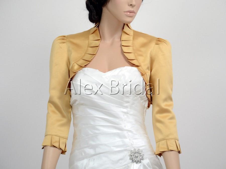 Wedding - Gold 3/4 sleeve satin wedding bolero jacket shrug