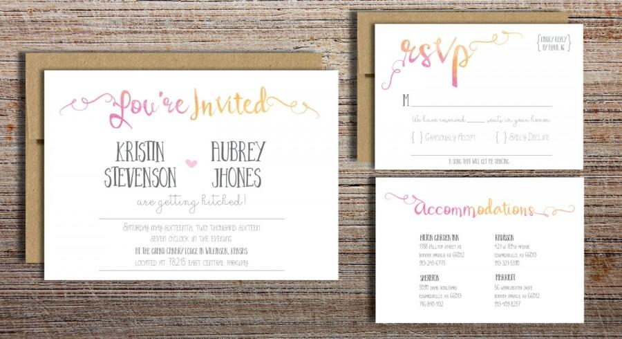 Mariage - You're Invited Watercolor Wedding Invitation Suite - Printable Wedding Invitation Suite, DIY Wedding Invitation, Pink Yellow Watercolor
