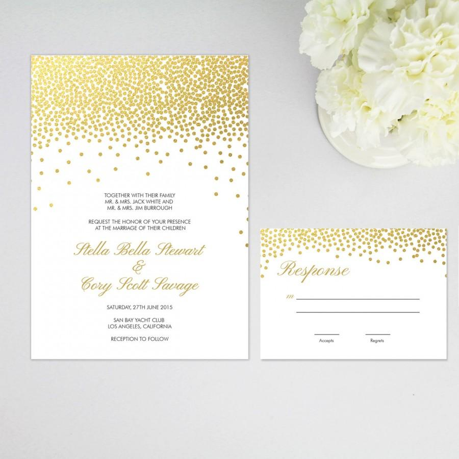 Wedding - Faux Gold Foil Confetti Dots Elegant Wedding Invitation and RSVP, Response Card