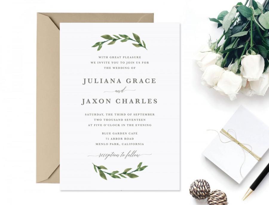 Invitation - Printable Greenery Wedding Invitation #2622411 - Weddbook