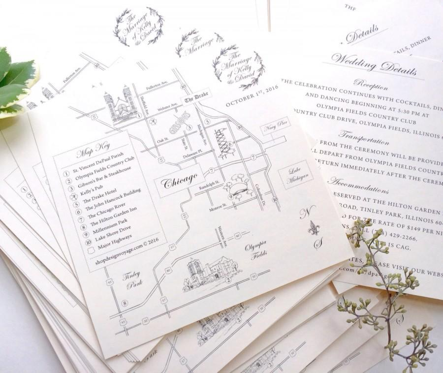 THE Classic Handdrawn Wedding Map With Personalized Calligraphy