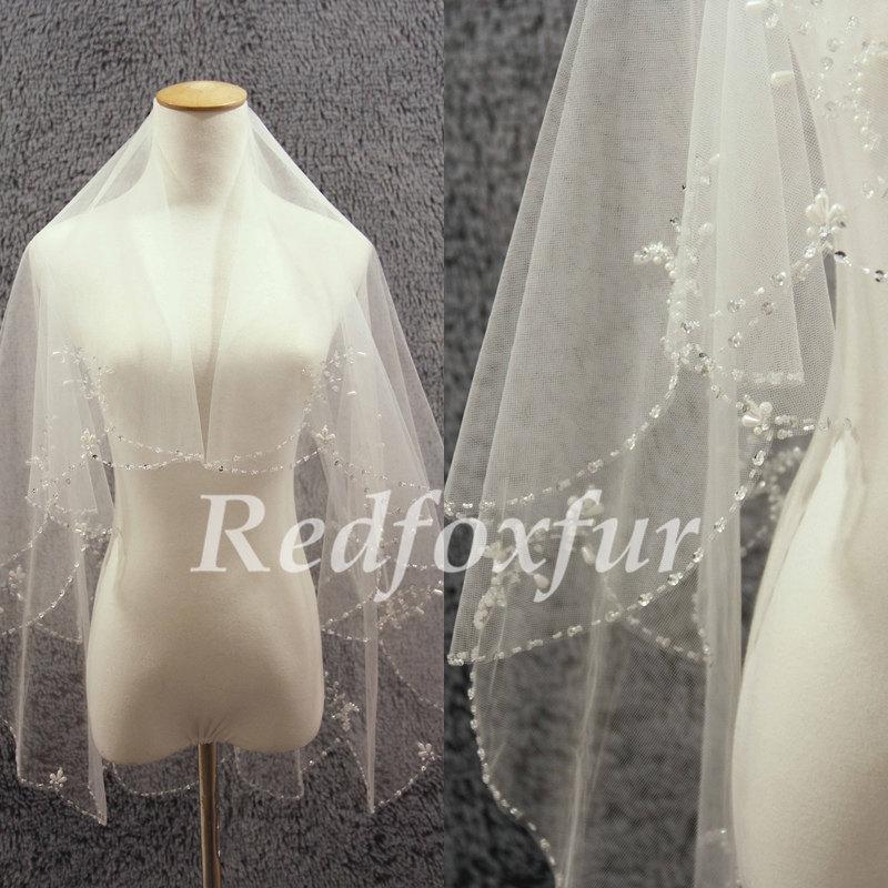 Свадьба - Ivory Bridal Veil 2 tier Elbow Veil Hand-beaded flowers Crescent edge Veil Wedding dress veil Wedding Accessories With comb