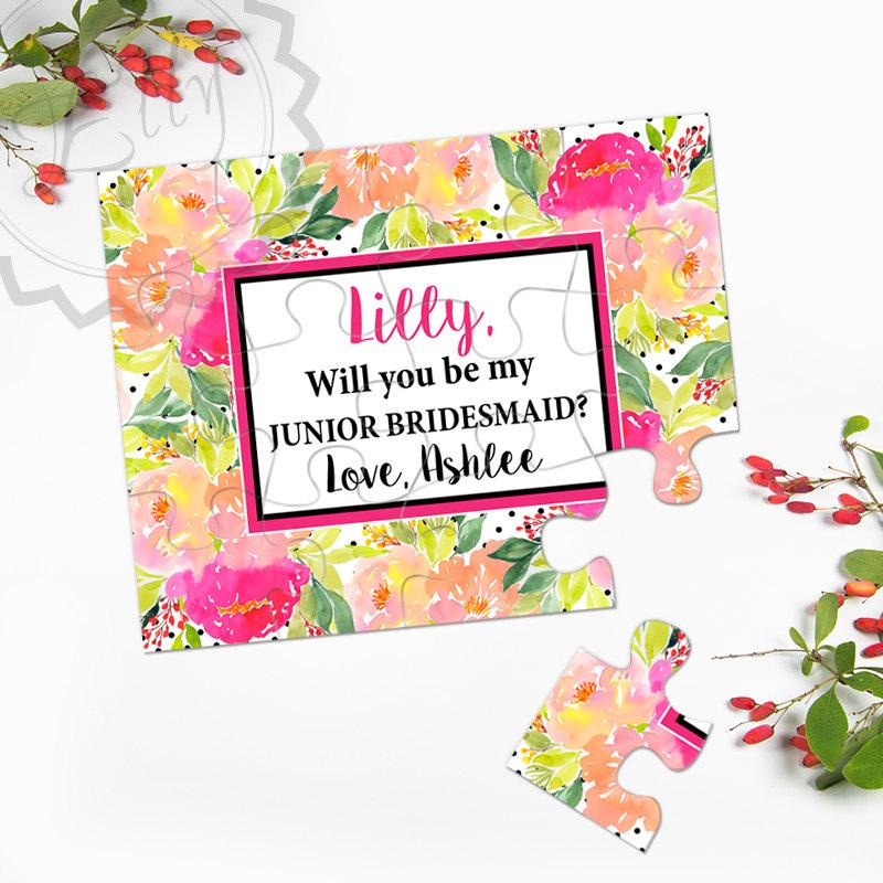 Mariage - Will you be our Junior Bridesmaid - Will you be my Flower Girl, Asking bridesmaid, Bridesmaid Proposal, Watercolor Bridesmaid Puzzle Card 25