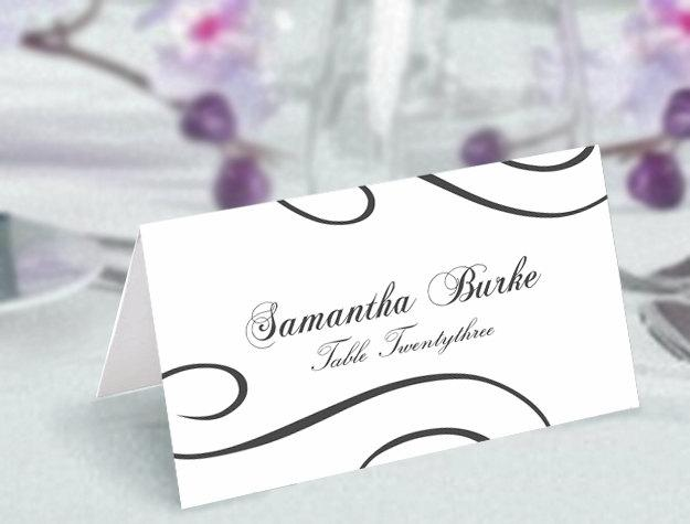 Mariage - Place Cards Wedding Place Card Template DIY Editable Printable Place Cards Elegant Place Cards Black Place Card Tented Place Card