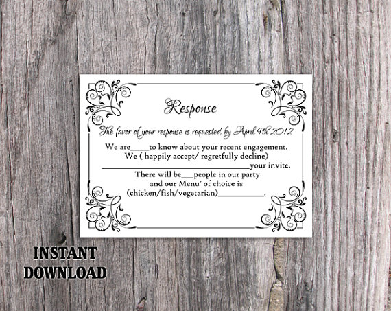 Mariage - DIY Wedding RSVP Template Editable Text Word File Download Rsvp Template Printable RSVP Cards Black Rsvp Card Template Elegant Rsvp Card