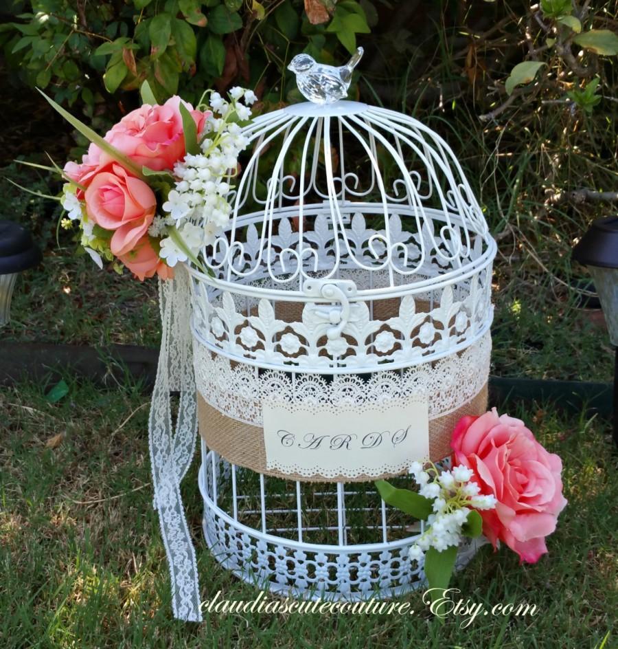 Mariage - Wedding Birdcage Card Holder, Wedding Card Holder, Birdcage Decor,Box,Bridal Shower Cards Box,Wedding,Cards Box ,Shabby Chic Wedding Box