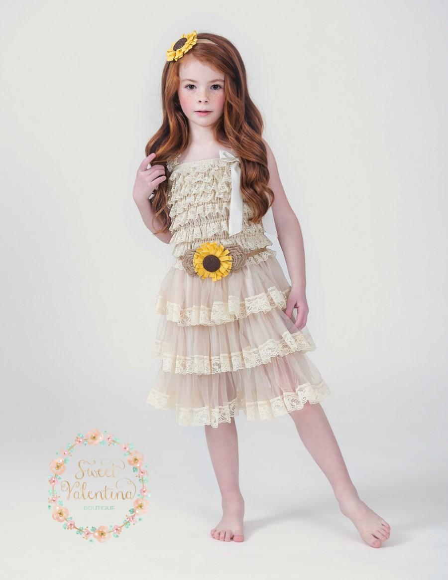 Mariage - Sunflower Flower Flower Girl dress, Sunflower Dress-Country Flower Girl Dress-Rustic Flower Dress-Sunflower Headband, Lace flower girl dress