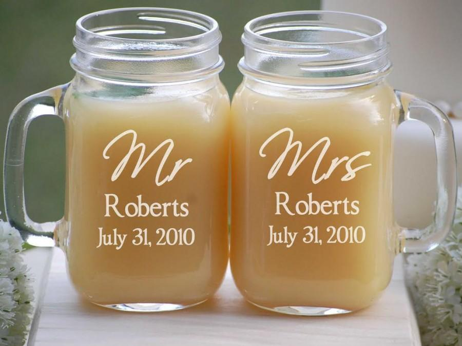 Personalized Wedding Glasses Mason Jar Barn Wedding Mugs Mr And