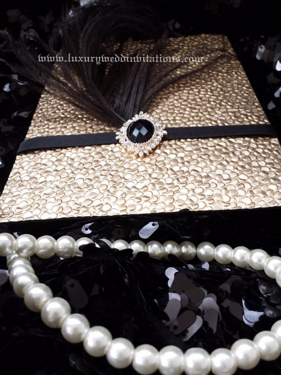 Mariage - Gatsby Invitation Luxury Pebble Bubble Embellishment Feather Crystal Wedding Pocket Invitations, A Set Of 100