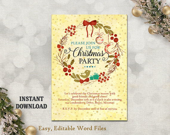 Printable christmas party invitation template wreath holiday printable christmas party invitation template wreath holiday party card christmas card editable template watercolor gold diy stars m4hsunfo