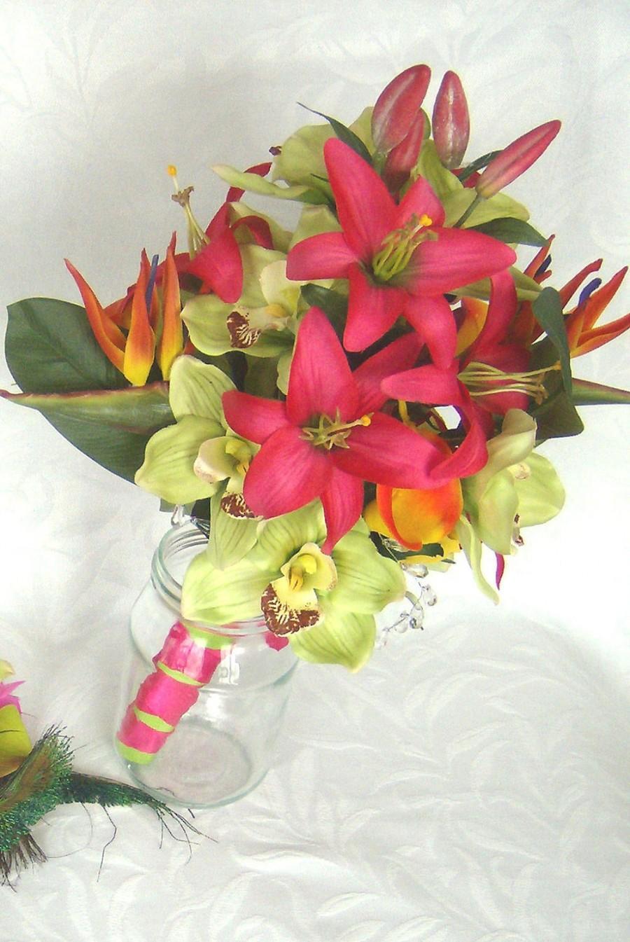 Mariage - Tropical wedding bridal bouquets matching boutonnieres  wedding bouquet 6 piece set
