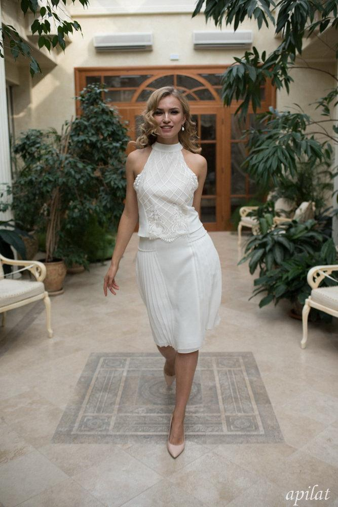 Mariage - Ivory Short Wedding Dress with Accordion Pleated Chiffon Skirt and Thin Straps L23, Lace Wedding Dress, Simple Wedding Dress, Bohemian Dress