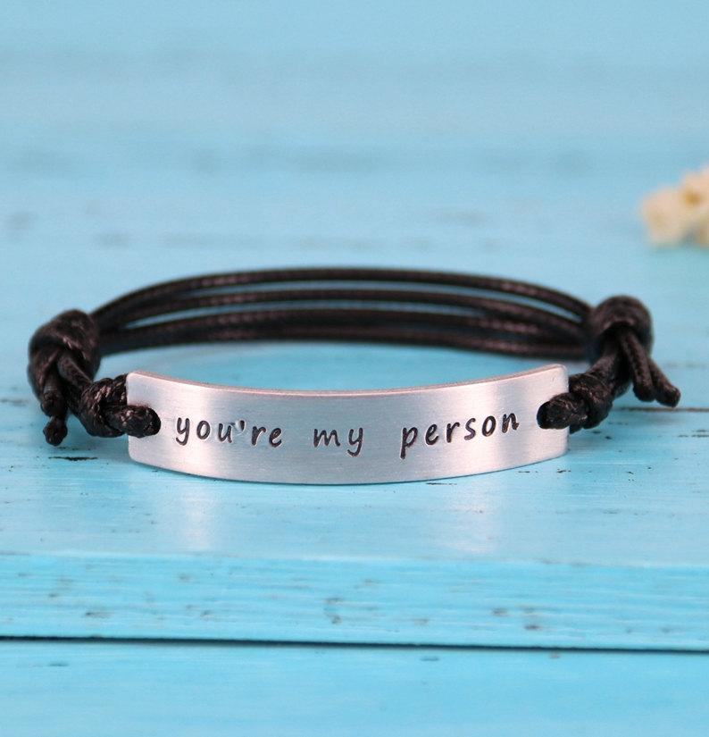 Свадьба - You are my person bracelet, personalized boyfriend bracelet, Engraved girlfriend Bracelet, Anniversary bracelet, you're my person bracelet