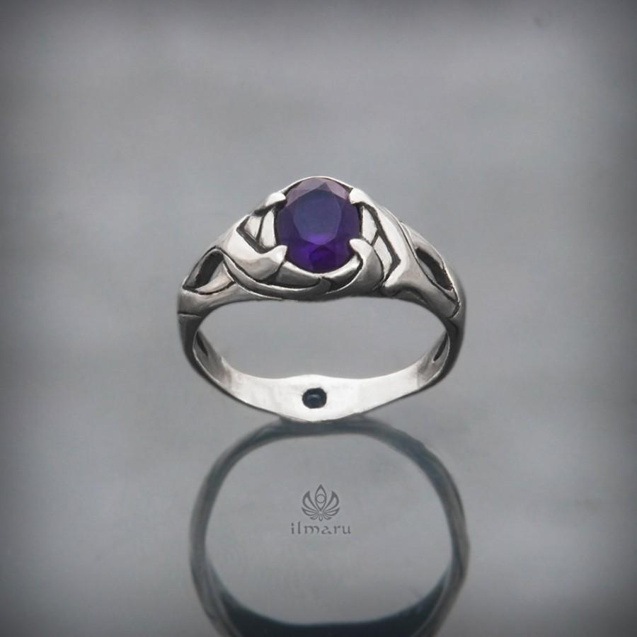 Sterling Silver Ring With African Amethyst And Sapphire Handcarved