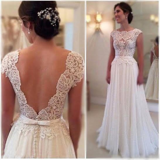 White/Ivory Wedding Dress,Chiffon Wedding Dress,Handmade Lace ...