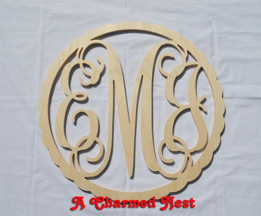 Mariage - 24 inch Scalloped Border Circle Vine Wooden Monogram - Wedding, Nursery, Home