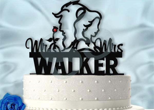 زفاف - Beauty with Her Beast With Last Name Wedding Cake Topper