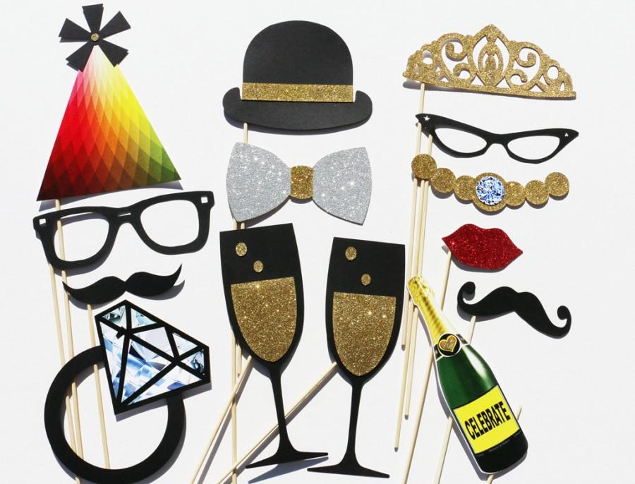Mariage - Photo Booth Props - 14 Piece Wedding Party Favor Set - Bridal Shower Photobooth Wedding Photo Props