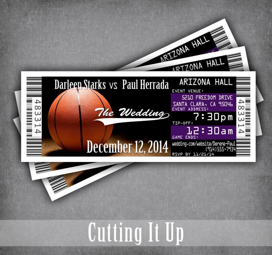 زفاف - Basketball Wedding Ticket Invitation, Basketball Wedding, Sport Wedding Invitations, Save The Date, Los Angeles Lakers, Sacramento Kings