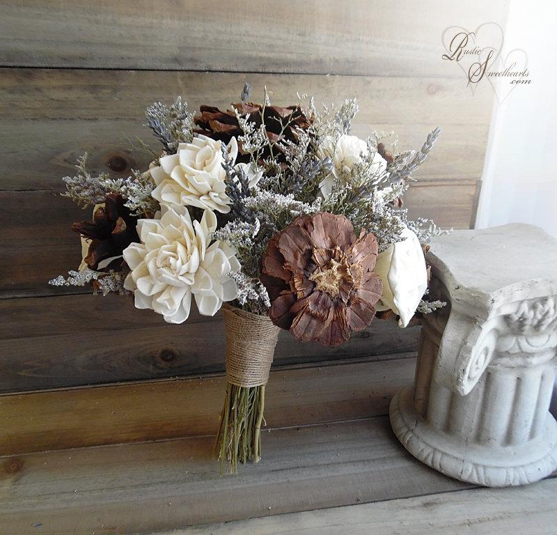 "Свадьба - Ready to Ship ~~~ Large Rustic Bridal Sola Flower and Pine Cone Bouquet, 9.5"" wide with jute wrapped stem handle."