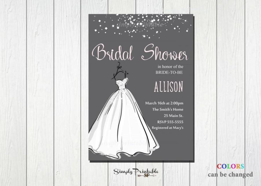 Wedding - Wedding Shower Invitation, Bridal Shower Invite, Wedding Dress, Modern Bridal Shower Invitation, Grey and Pink Bride