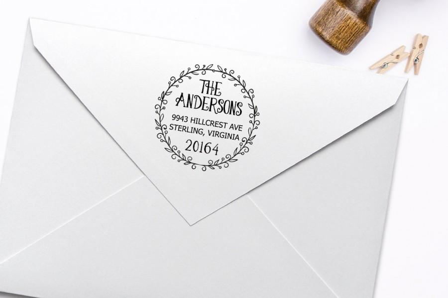Mariage - Return Address Stamp, Housewarming Gift Stamp, DIY Wedding Rubber Stamp. Address Label Stamp 2x2 Inch
