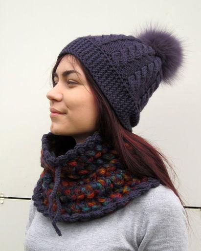 badf8ab0d5c Crochet hat and scarf set Crochet purple colors hat winter set Lace shawl  set beanie cowl set Crochet scarf Knit hat Christmas gift set