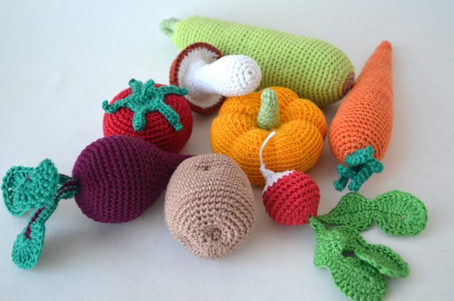 Hochzeit - Crochet knit Vegetables  Kitchen decor Christmas gift,Play food,Crochet food,Soft toys,Handmade toy, Eco friendly,Learning toy set of 8 pcs