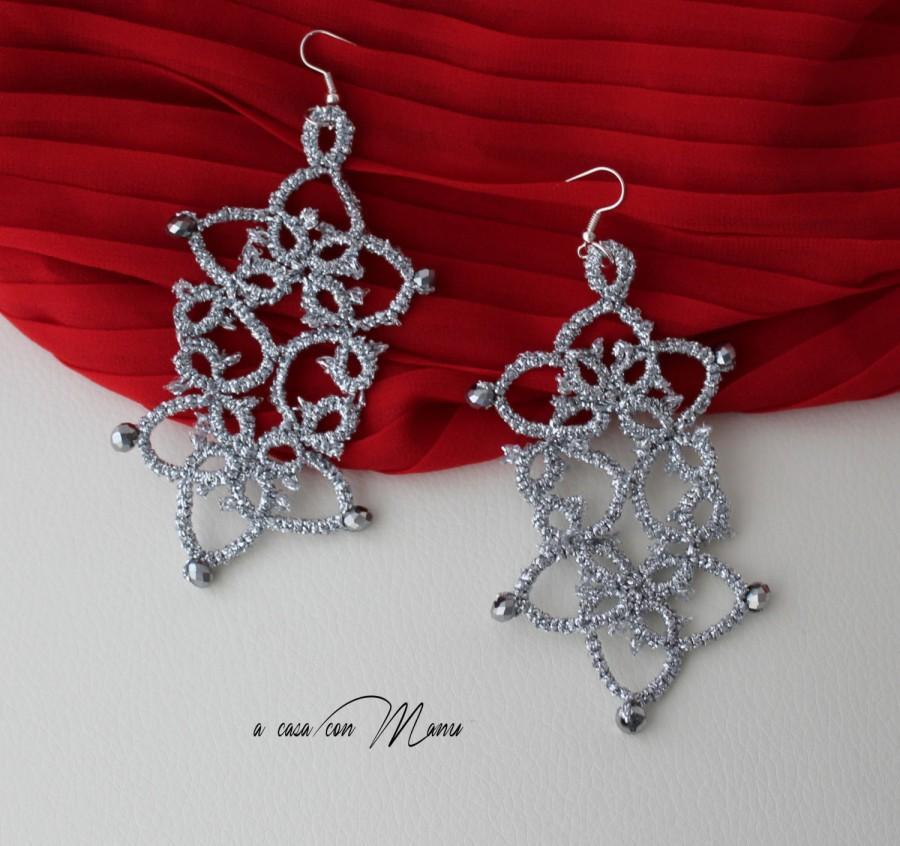 Mariage - Orecchini in pizzo chiacchierino, lace tatting earrings, argento, silver, orecchini pendenti, bijoux, per lei, idea regalo, fatto a mano