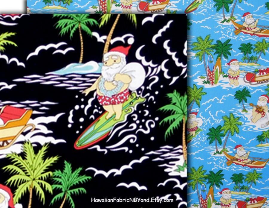 christmas hawaiian fabric surfing santa claus tropical kids fabric blue black cotton hcn9975hcn9976 ask for bulk - Christmas In Hawaiian