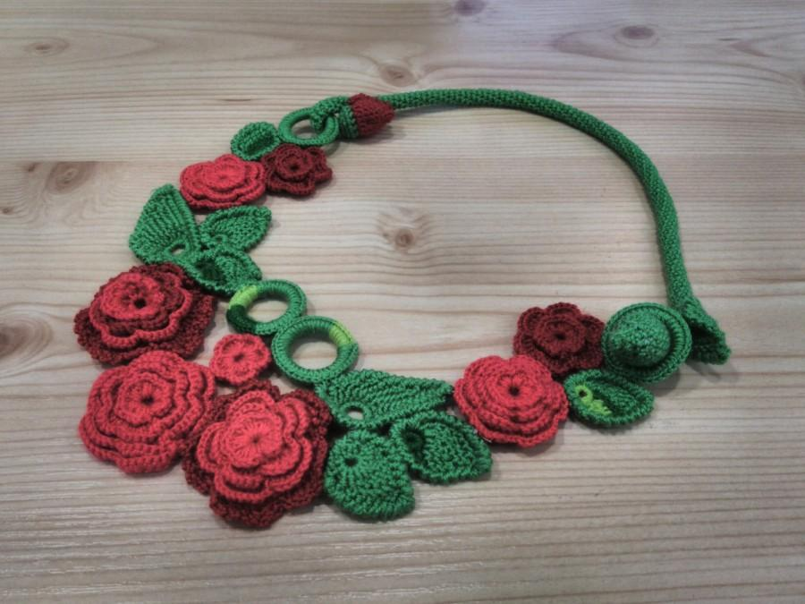 Wedding - Crochet necklace elegant jewerly red necklace flower necklace floral necklace rose necklace gift for her knit necklace