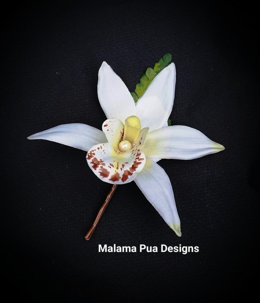 Свадьба - SILK FLOWER HAIR Pin - Wedding hair flower, Bridal hair pin, Silk Hair clip, White Petite Orchid, Hair Pins, Hair Accessory,  Beach Wedding