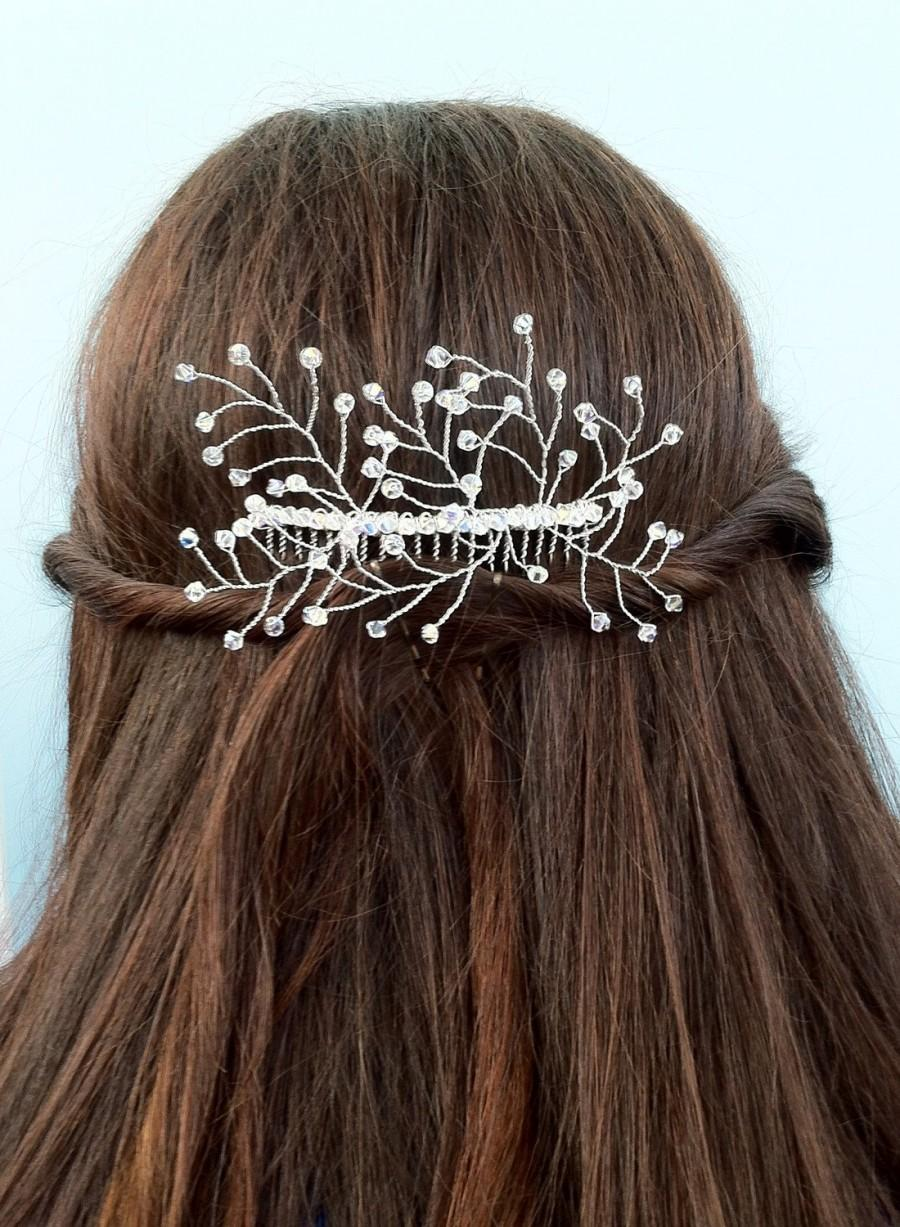 Свадьба - Silver Floral Crystal Hair Slide, Beaded Flower Comb With Crystal Sprigs Of Swarovski Elements, Bridal Hair Vine, Wedding Hair Accessory