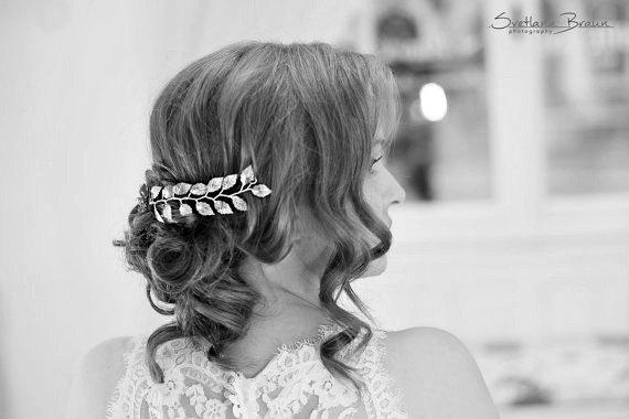 Свадьба - Grecian leaf silver hair vine, Greek leaves hairvine, Bridal leaf hair accessory, Bridal leaf halo, Silver hair jewelry, Wedding hair piece