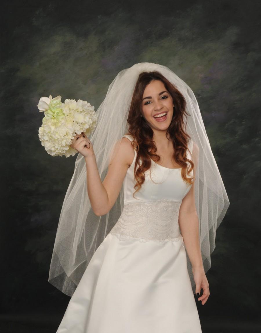 زفاف - Fingertip Wedding Veils Raw Edge Double Layer Light Ivory Illusion 72 Wide Plain Cut Bridal Veil 2 Layers White Tulle 48 Long Veils Full