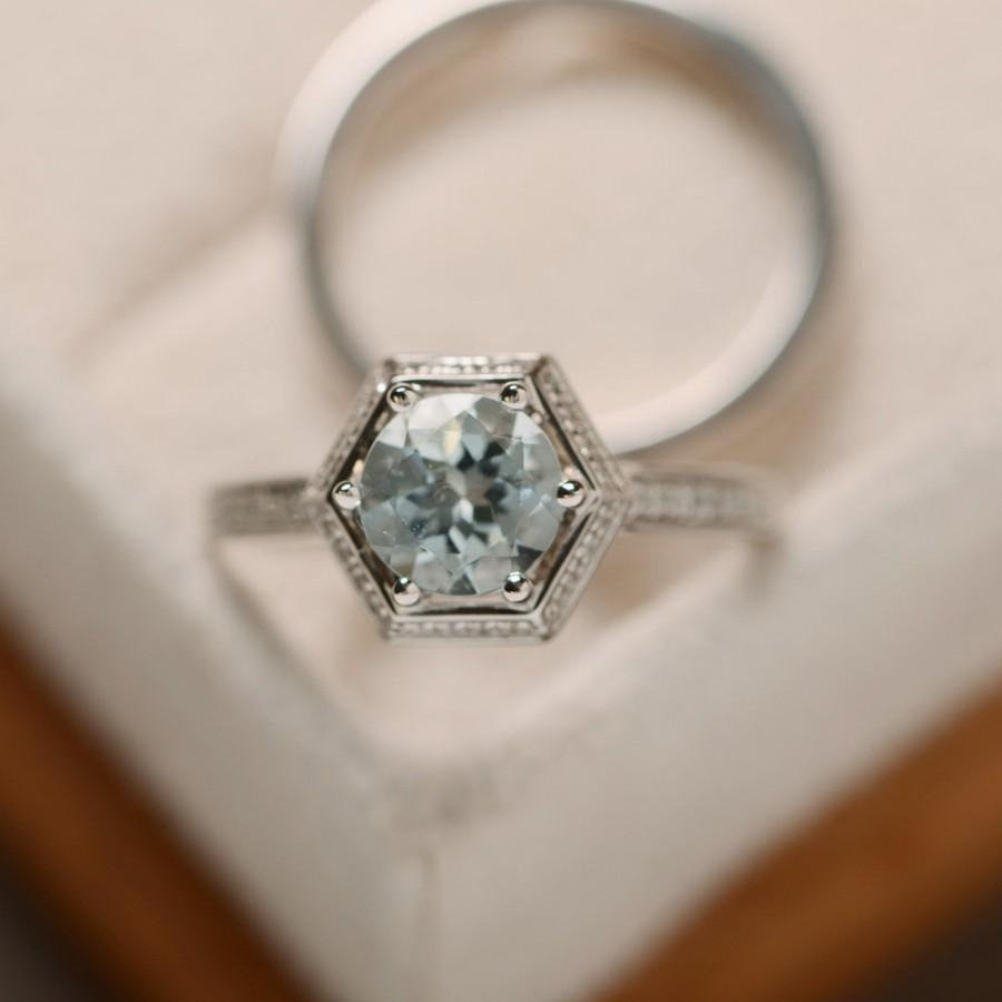 media aquamarine sterling ring halo birthstone engagement rings gemstone march silver