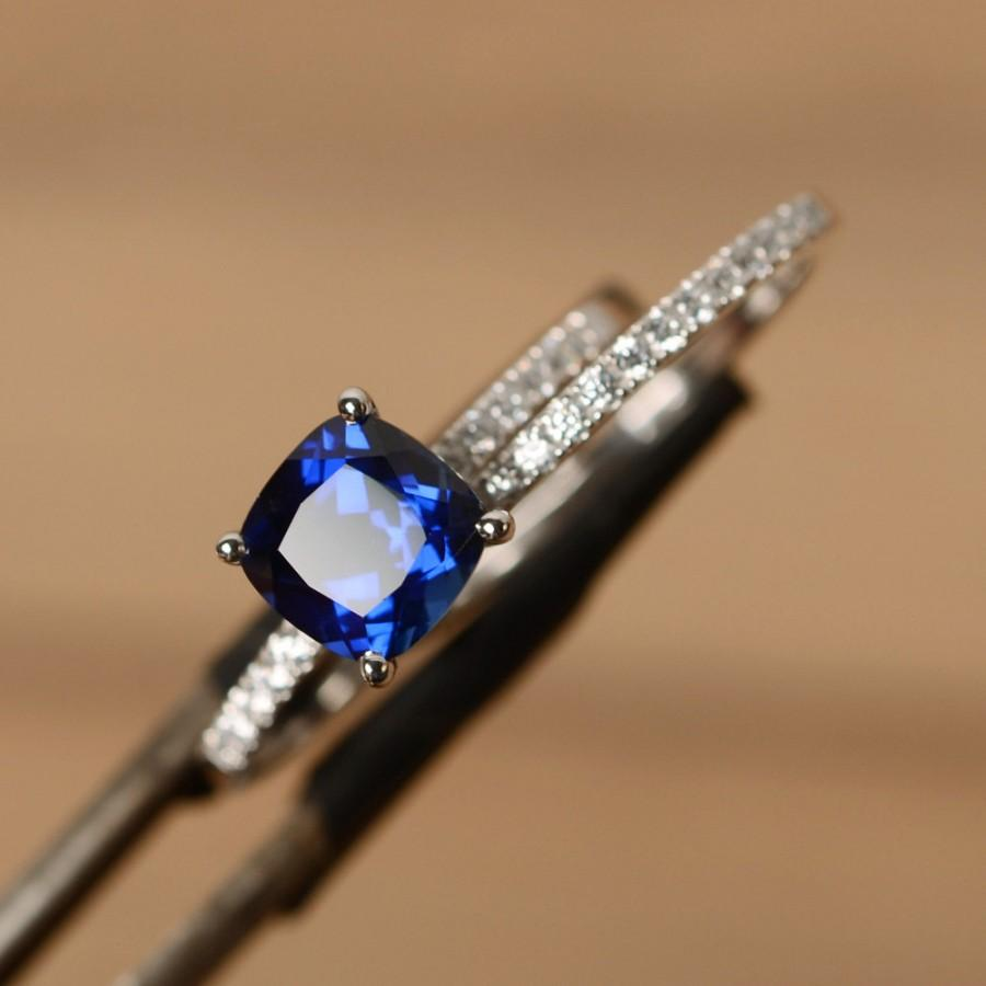 Mariage - blue sapphire ring engagement sterling silver cushion sapphire ring