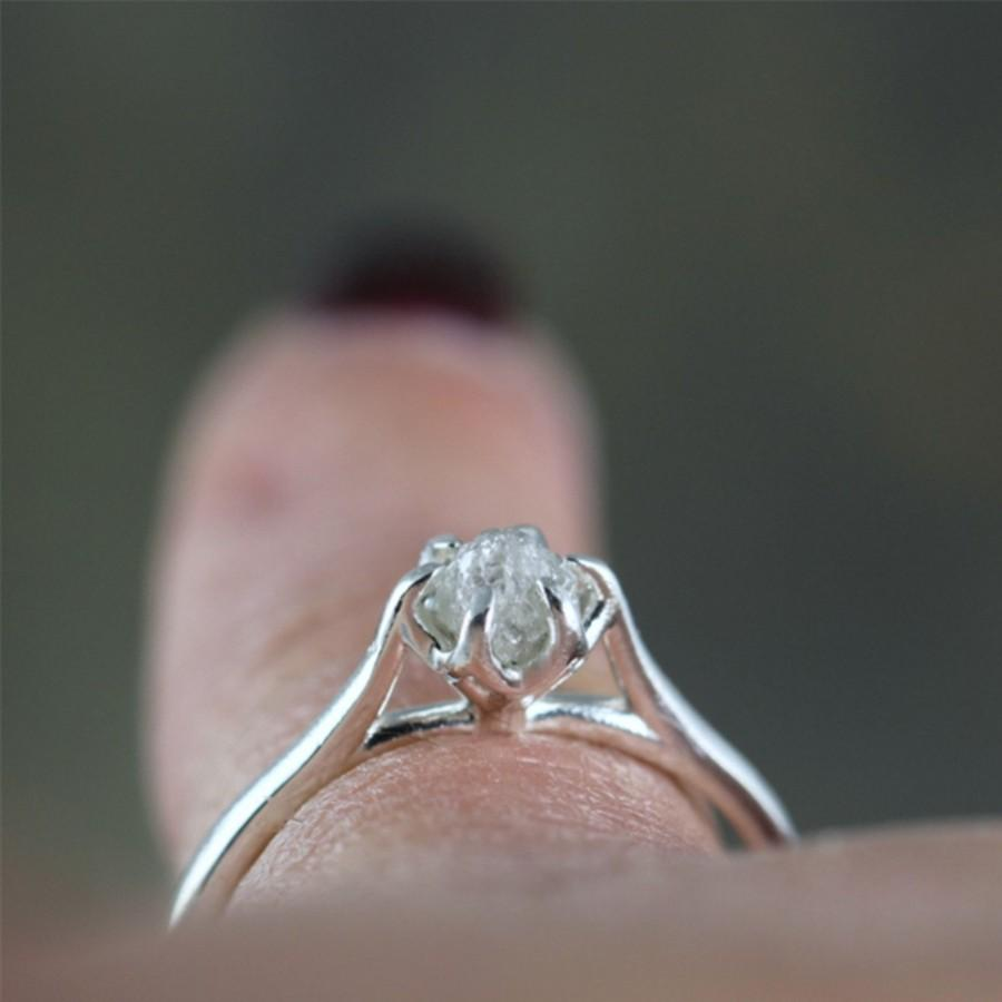 made raw rough basket solitaire engagement in weave canada ring setting diamond silver sterling uncut media rings