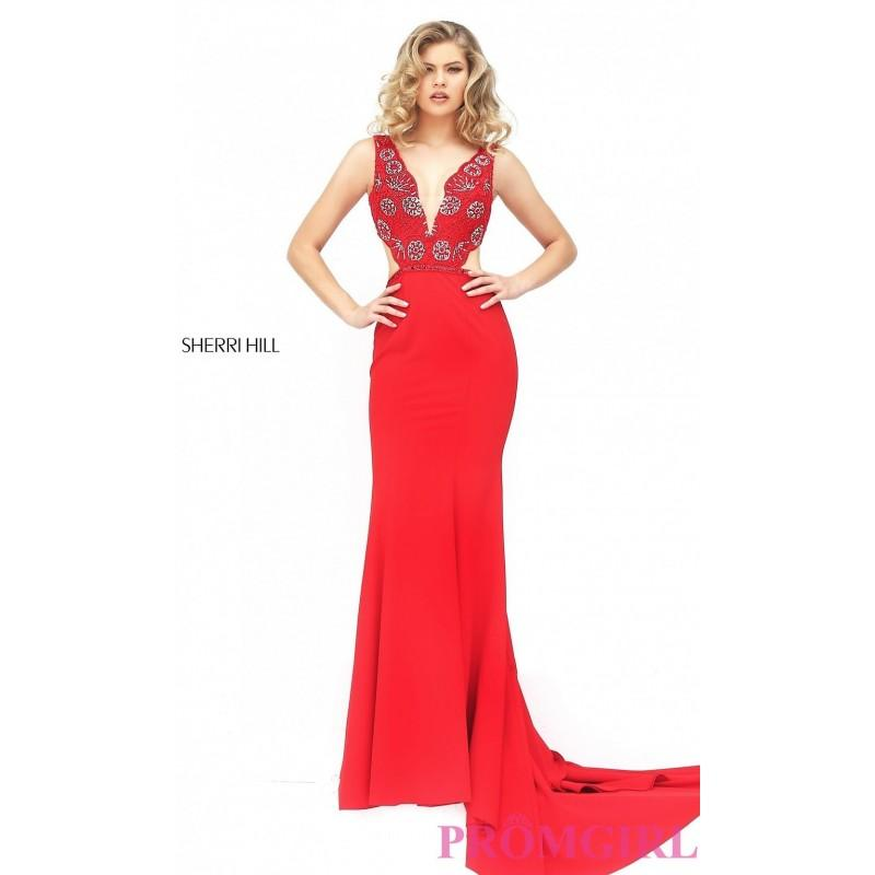 Mariage - Long V-Neck Cut Out Sherri Hill Prom Dress - Discount Evening Dresses