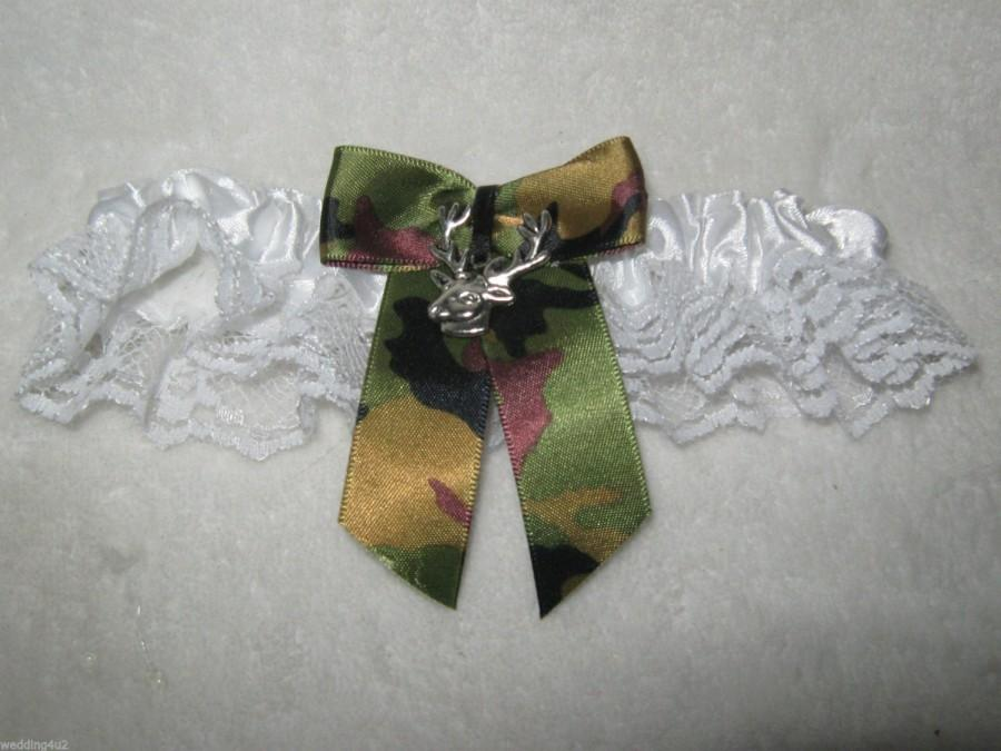 Mariage - Wedding Reception Ceremony Party Camo Bow Deer Hunting Hunter White Satin Sexy Garter