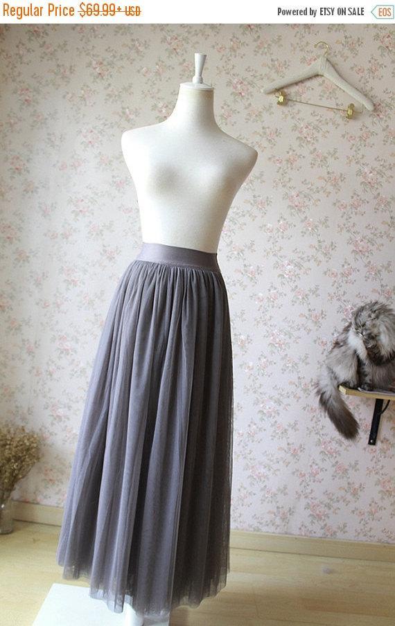 Wedding - Dark Gray Tulle Skirt. Adult Maxi Tulle Skirt.Dark Gray Floor Length Tulle Skirt. Gray Bridesmaid.Gray Wedding.Elastic.Plus Size (T28141)