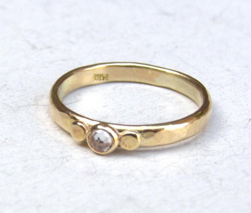 Mariage - Hand made engagement ring ,solid gold ring ,14k gold ring ,White Topaz , Lab diamond ring, Wedding ring, Solitaire ring, Promise ring.